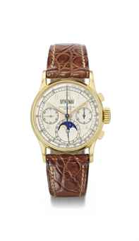 Patek Philippe. A fine and rare 18K gold perpetual calendar chronograph wristwatch with moon phases and original certificate