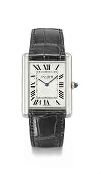 Cartier. A fine platinum rectangular wristwatch