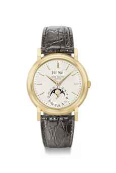Patek Philippe. An extremely rare, attractive and very important 18K gold manually-wound perpetual calendar wristwatch with moon phases