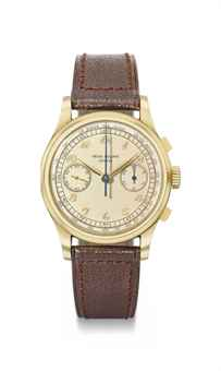 Patek Philippe. An extremely rare, large and attractive 18K gold chronograph wristwatch with Breguet numerals