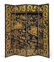 A CHINESE EXPORT BLACK AND GILT LACQUER FOUR-FOLD SCREEN
