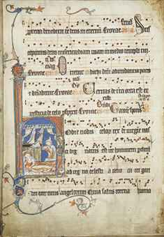ANTIPHONAIRE À L'USAGE FRANCISCAIN, EN LATIN, MANUSCRIT ENLUMINÉ SUR VÉLIN
