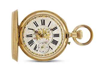 TRILLA. AN 18K GOLD HUNTER CASE KEYLESS LEVER POCKET WATCH, MADE FOR THE SPANISH MARKET