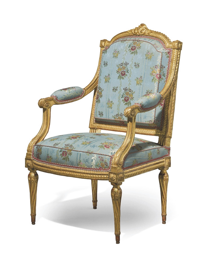 fauteuil a la reine d 39 epoque louis xvi estampille de. Black Bedroom Furniture Sets. Home Design Ideas