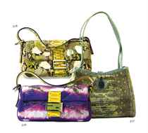 A YELLOW, GREEN, PINK AND IVORY PYTHON BAGUETTE BAG