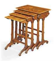 A GALLÉ MARQUETRY NEST OF TABLES