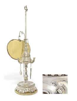 A RARE MALTESE SILVER OIL LAMP, LAMPIER