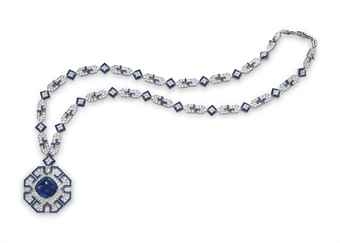 A SAPPHIRE AND DIAMOND SAUTOIR, BY BVLGARI