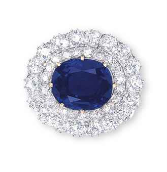AN EXCEPTIONAL SAPPHIRE AND DIAMOND BROOCH
