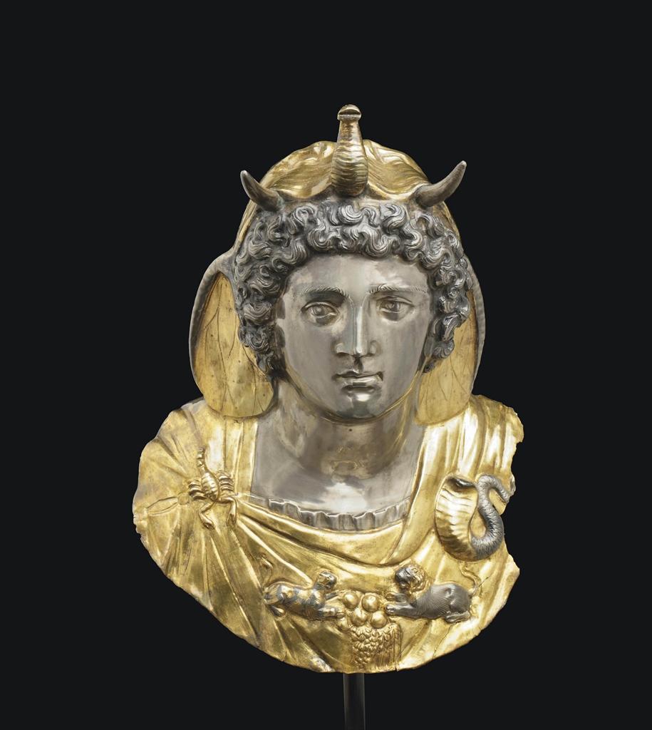 a roman parcel gilt silver emblema of cleopatra selene