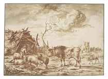 A herdsman with his cattle