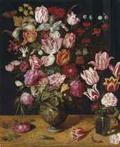 Tulips, roses, Turk's cap lilies, columbines, carnations and other flowers  in a ceramic vase, with tulips in a glass vase, on a wooden ledge, with a peacock butterfly, a grasshopper and a lizard