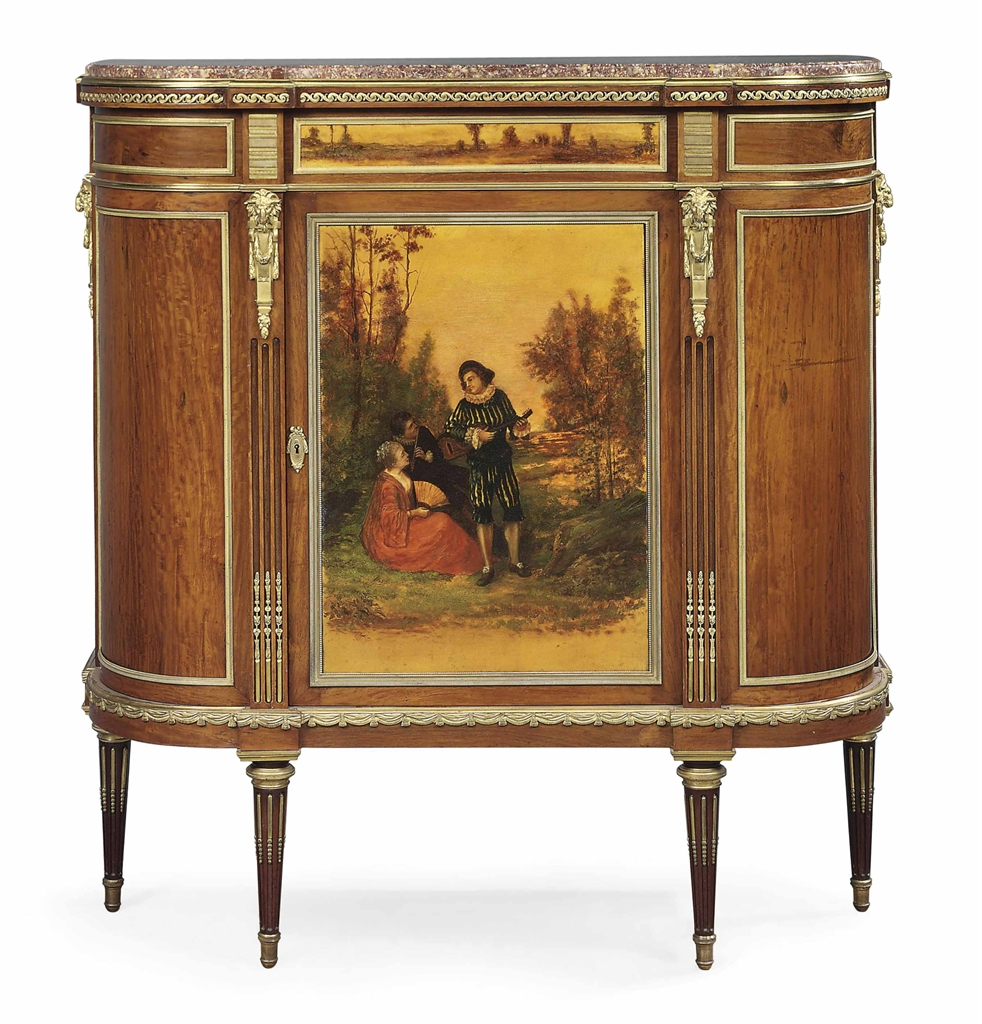 a french ormolu mounted mahogany and vernis martin meuble d 39 appui of louis xvi style by. Black Bedroom Furniture Sets. Home Design Ideas