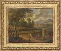 An extensive river landscape with travellers resting by a fountain