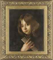 Portrait of a boy, bust-length, holding a sheet of music