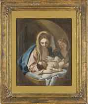 The Madonna and Child with an angel, feigned oval