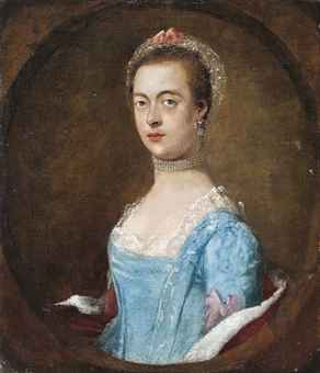 Portrait of a lady, traditionally identified as Mrs. William Baker, half-length, in a blue dress and a pearl choker, feigned oval