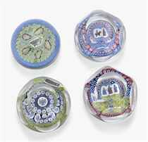 FOUR WHITEFRIARS MILLEFIORE 'CHRISTMAS' PAPERWEIGHTS