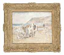 Donkeys and figures on the beach