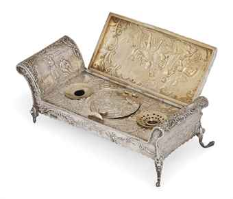 a german silver novelty inkstand in the form of a chaise. Black Bedroom Furniture Sets. Home Design Ideas