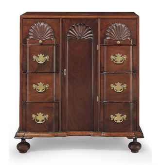 A RARE AND IMPORTANT CHIPPENDALE CARVED MAHOGANY DIMINUTIVE BLOCK-AND-SHELL DOCUMENT CABINET WITH DRAWERS
