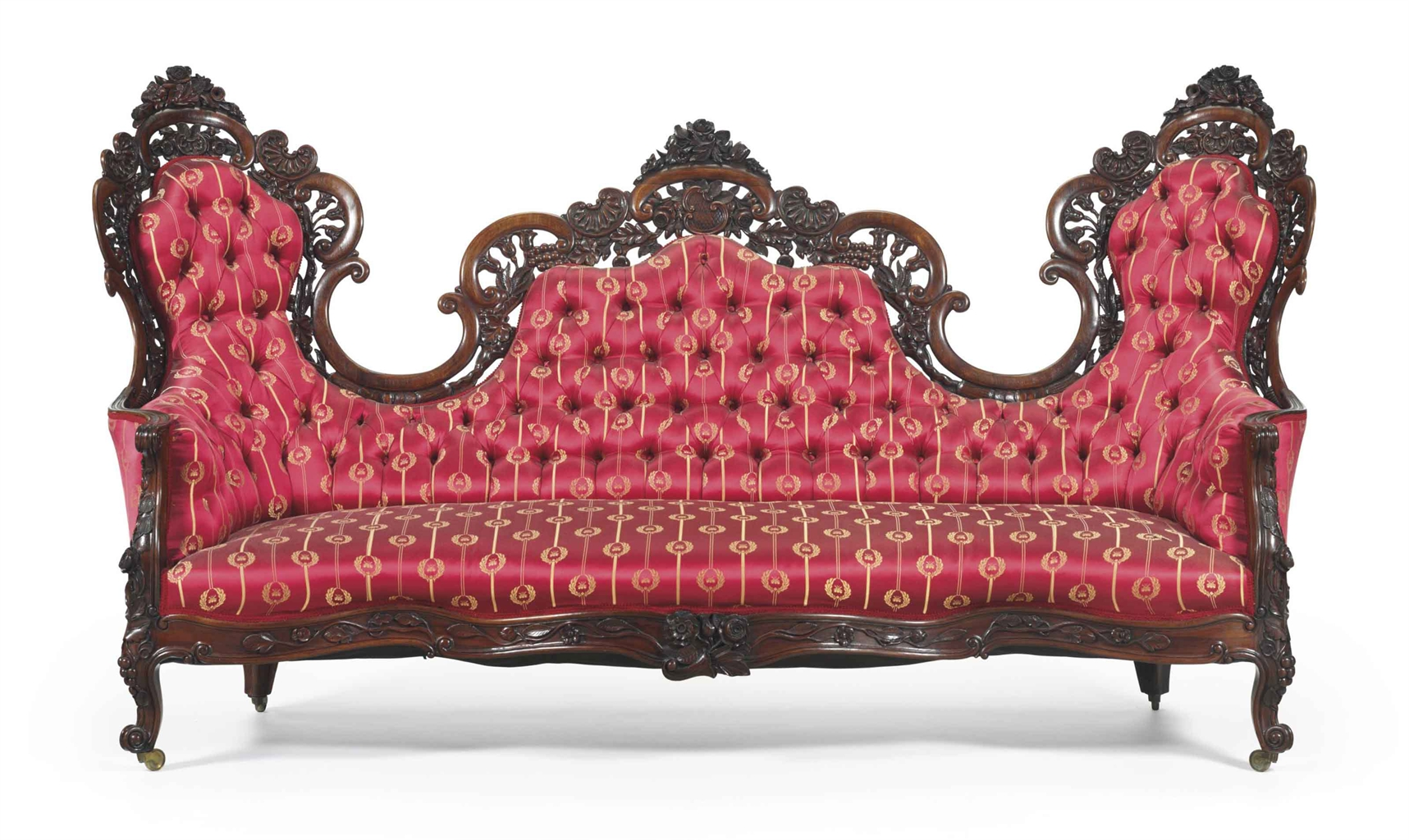 A rococo revival rosewood laminated sofa attributed to for Rococo style furniture