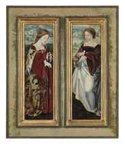The wings of a triptych: Saint Catherine of Alexandria; and Saint Mary Magdalene