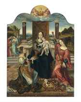 The central panel of the triptych: The Virgin and Child with the virtues of temperance and Justice, and angels.