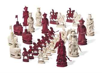 A CHINESE IVORY CHESS SET
