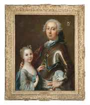 Double portrait of a gentleman, half-length, in armour wearing an order, and his daughter in a light blue dress