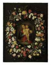 The Virgin and Child surrounded by flowers