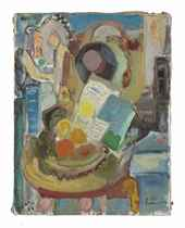 Still life with Fruit and Newspaper