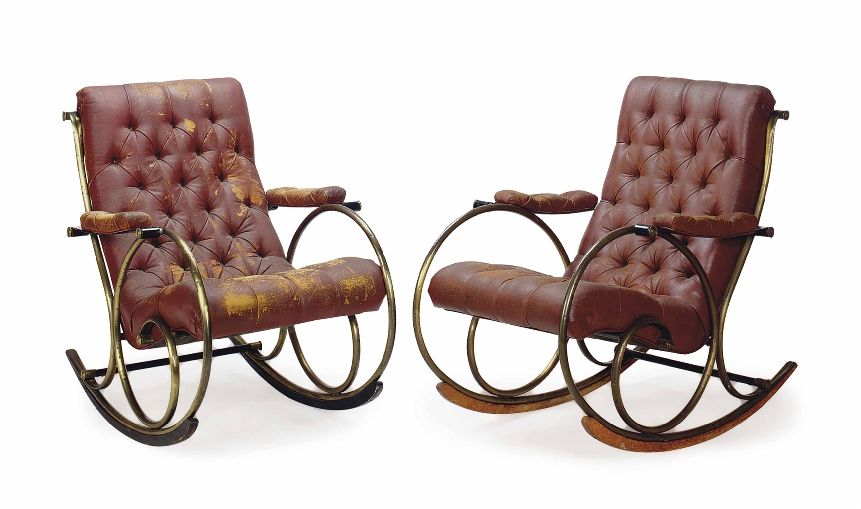 EBONIZED BRASS AND UPHOLSTERED ROCKING CHAIRS BY LEE WOODARD . Full resolution  pic, nominally Width 1731 Height 1024 pixels, pic with #906E3B.