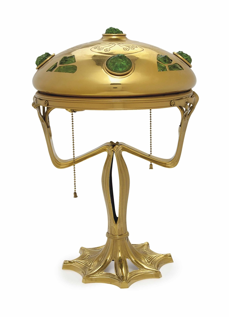 a german art nouveau brass and green glass table lamp. Black Bedroom Furniture Sets. Home Design Ideas