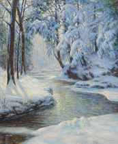 Stream in a Snowy Landscape