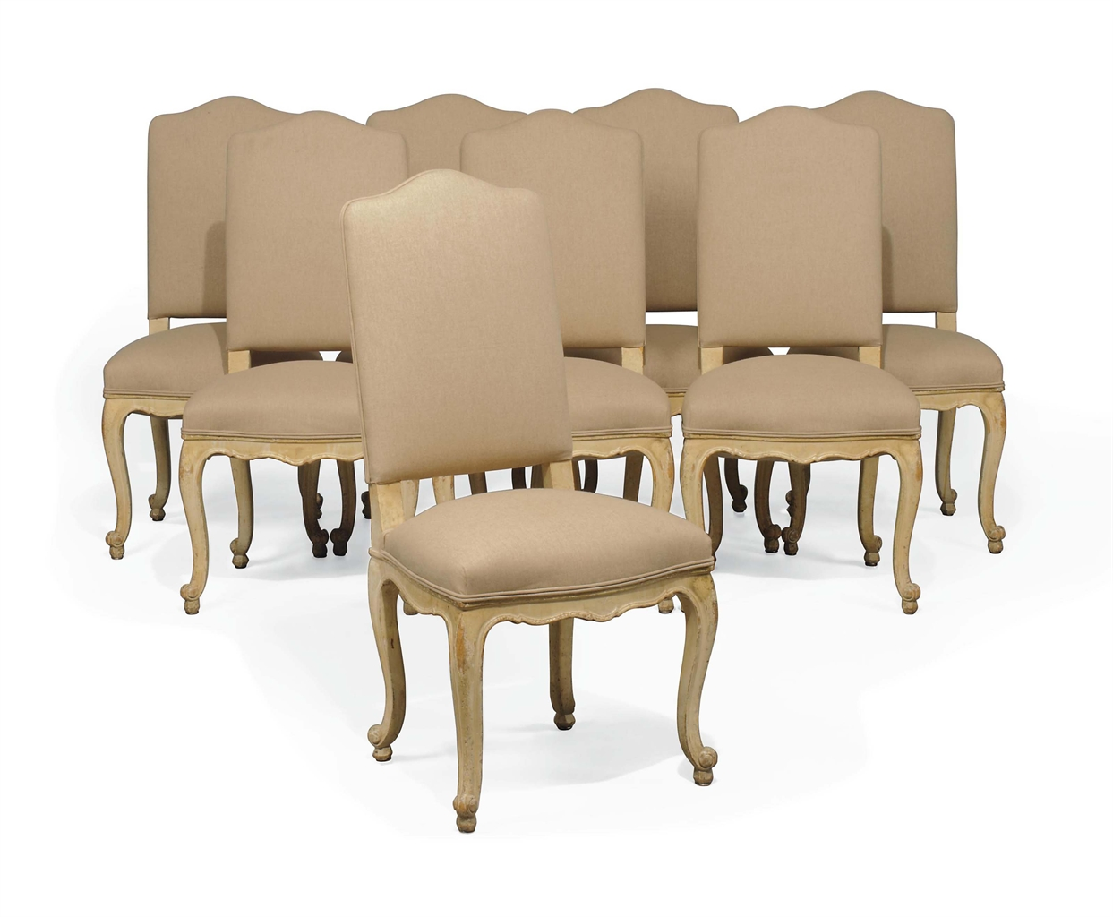 A set of eight cream painted and upholstered dining chairs for Cream upholstered dining chairs