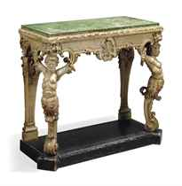 AN EARLY VICTORIAN CREAM-PAINTED AND PARCEL-GILT CONSOLE TABLE