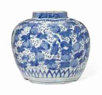 A CHINESE BLUE AND WHITE LOBED JAR