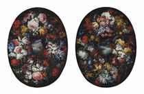 A moonlit coastal landscape, in a floral cartouche; and A coastal landscape, in a floral cartouche
