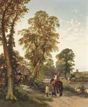 Figures and animals on along a river bank, a cottage and windmill beyond