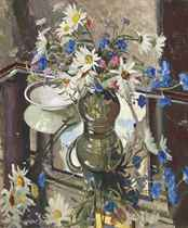 Still life of daisies and cornflowers in a glass jug