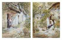 Peeling vegetables; and a Mother and child at a Devonshire cottage door