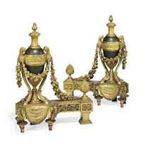 A PAIR OF LARGE FRENCH ORMOLU AND TOLE CHENETS