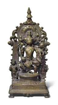 A brass altar of Lakshmi Narayana