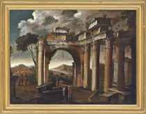 An architectural capriccio with figures conversing