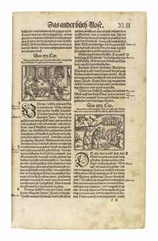 BIBLE, in German: Die gantze Bibel, edited by Heinrich Bullinger. Zurich: Christoffel Froschauer, 1545. 2° (375 x 240mm). General and New Testament title printed in red and black and with full woodcut border, profusely illustrated with woodcut scenes, historiated and gothic initials. (Lacking XX6 [Amos] and without final blank, 3 lvs. defective, tears touching text in about 12 leaves, small hole in title, 3 lvs. in first quire repaired at hinge just touching text, some spotting and staining.) Near contemporary blindstamped calf over wooden boards, metal clasps, corner guards and central lozenge, mottled edges (short split at hinge, light rubbing). Provenance: some contemporary marginal notes just shaved -- Chaspar Andrea Pulin (inscriptions in Romansch dated 1661, 1636).