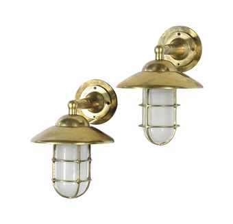 A SET OF FOUR BRASS SHIP S WALL LIGHTS, LATE 20TH CENTURY Interiors Auction wall appliques ...
