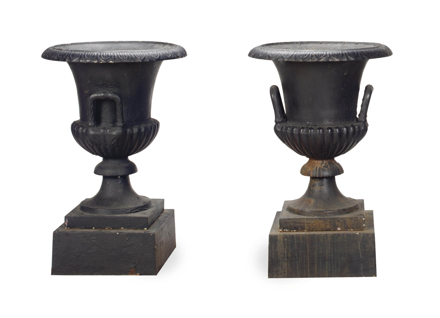 A PAIR OF LARGE BLACK-PAINTED CAST-IRON GARDEN URNS
