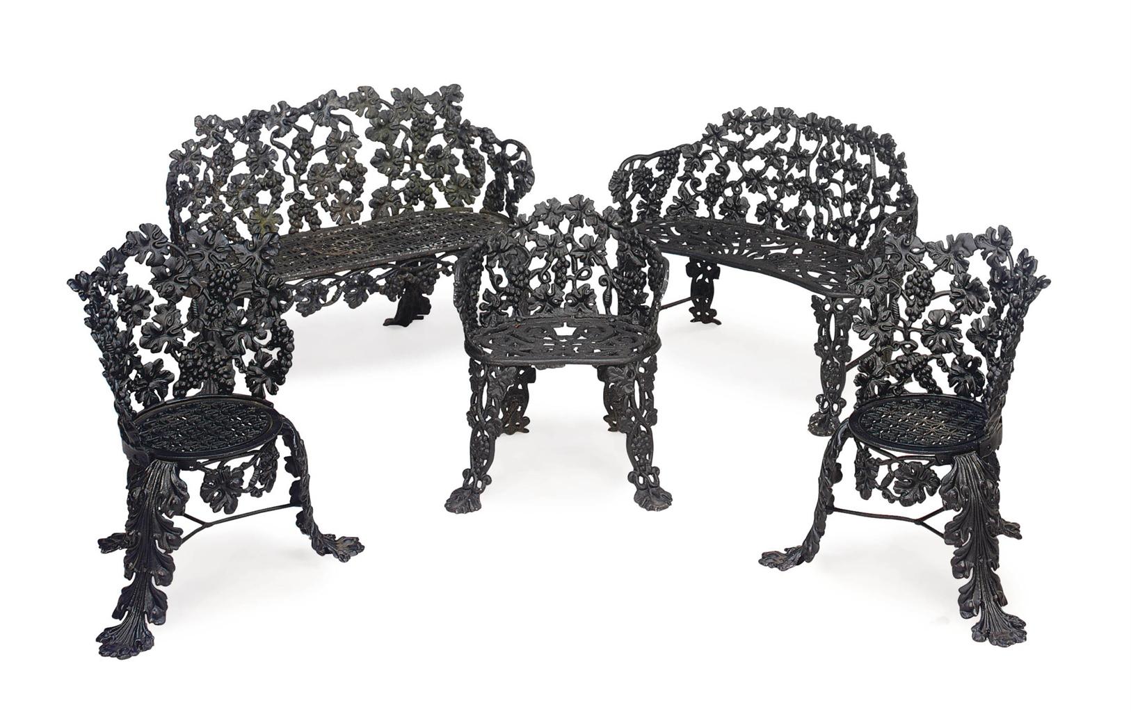 A suite of five black painted cast iron garden furniture for Cast iron garden furniture