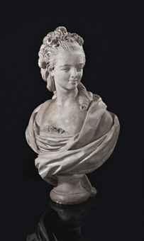 BUSTE EN PLATRE REPRESENTANT PROBABLEMENT MARIE ADELAIDE DE FRANCE, DITE MADAME ADELAIDE (1732-1800)